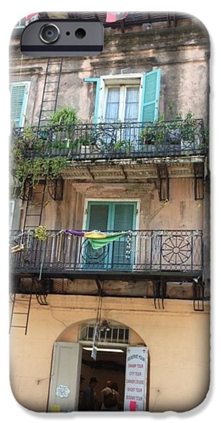 Balcony Pyrography iPhone Cases - Balcony in the French Quarter iPhone Case by Brian  Webster