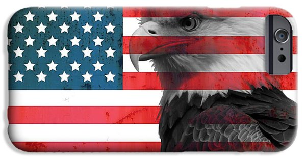 Honor iPhone Cases - Bald Eagle American Flag iPhone Case by Dan Sproul