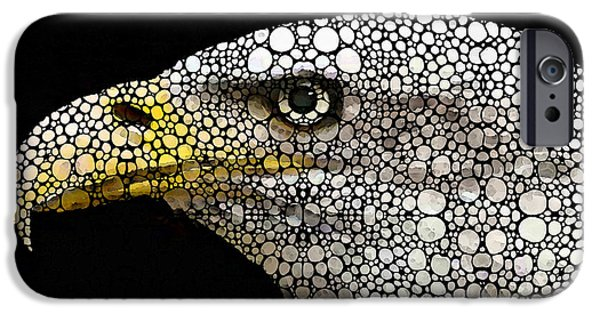 Patriotism iPhone Cases - Bald Eagle Art - Eagle Eye - Stone Rockd Art iPhone Case by Sharon Cummings