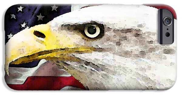 Patriotism iPhone Cases - Bald Eagle Art - Old Glory - American Flag iPhone Case by Sharon Cummings