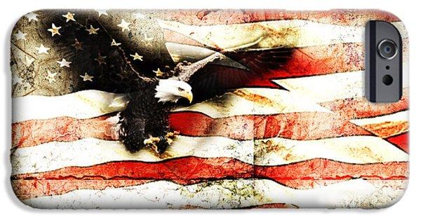 Flag iPhone Cases - Bald Eagle Bursting Thru Flag iPhone Case by Eleanor Abramson