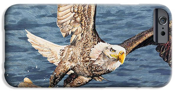 Aaron Drawings iPhone Cases - Bald Eagle fishing  iPhone Case by Aaron Spong