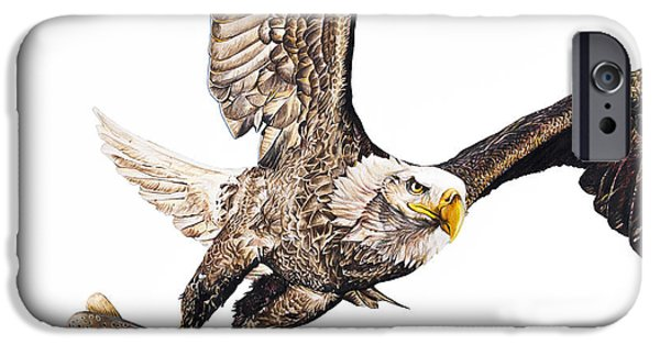 Aaron Drawings iPhone Cases - Bald Eagle Fishing White Background iPhone Case by Aaron Spong