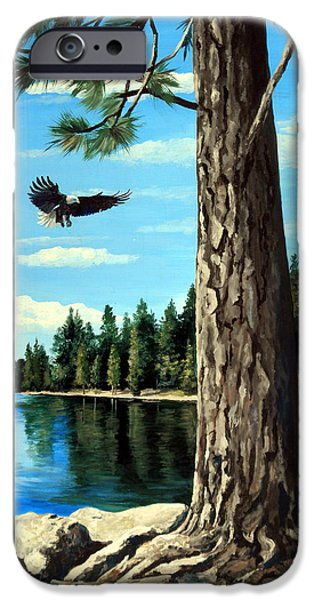 Soaring Paintings iPhone Cases - Bald Eagle Flying Free iPhone Case by Suzanne Schaefer