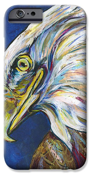 4th July Paintings iPhone Cases - Bald Eagle iPhone Case by Lovejoy Creations