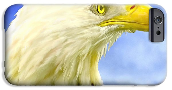 Patriotism iPhone Cases - Bald Eagle Painting For Sale iPhone Case by  Bob and Nadine Johnston