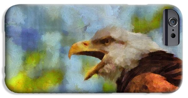 Baby Bird Mixed Media iPhone Cases - Bald Eagle Portrait iPhone Case by Dan Sproul