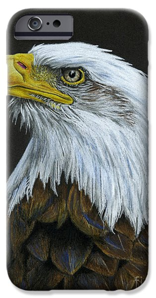 July 4th Drawings iPhone Cases - Bald Eagle iPhone Case by Sarah Batalka