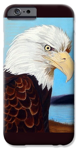 Eagle Pastels iPhone Cases - Bald Eagle iPhone Case by Tanya Provines