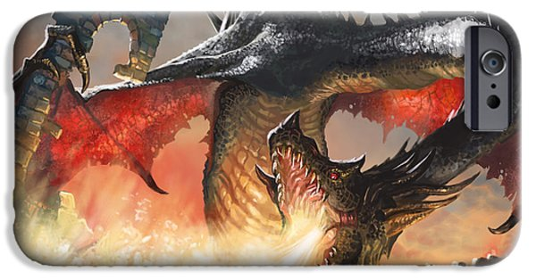 Fantasy Digital Art iPhone Cases - Balerion The Black iPhone Case by Ryan Barger