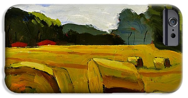 Bales Paintings iPhone Cases - Bales on the Plain iPhone Case by Charlie Spear
