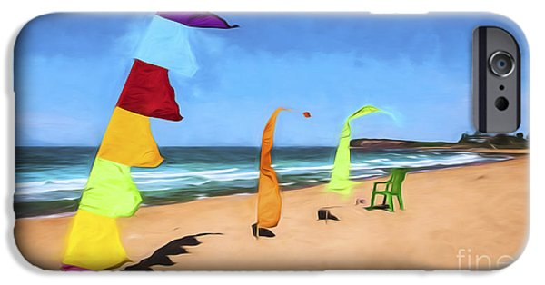 Abstract Digital Photographs iPhone Cases - Bali flags on Collaroy Beach iPhone Case by Sheila Smart
