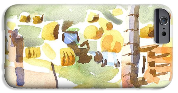 Bales Paintings iPhone Cases - Baling Hay in the Abstract iPhone Case by Kip DeVore