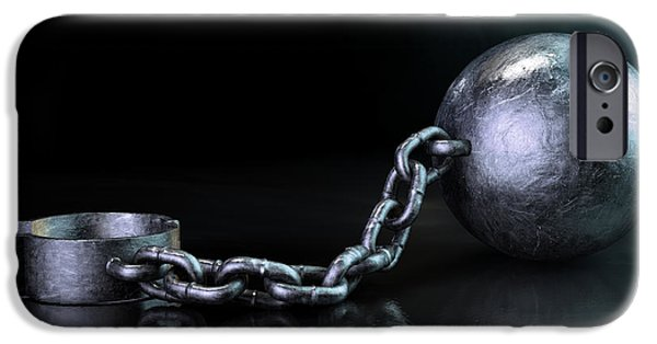 Escape Digital iPhone Cases - Ball And Chain Dark iPhone Case by Allan Swart