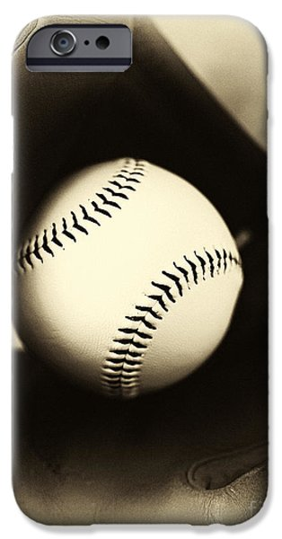 Ball And Glove iPhone Cases - Ball in Glove iPhone Case by John Rizzuto