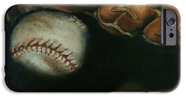 Baseball Glove Paintings iPhone Cases - Ball in Glove iPhone Case by Lindsay Frost