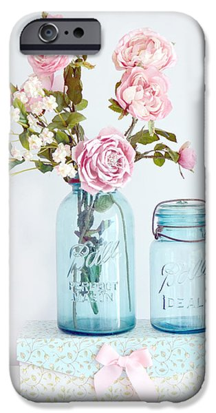 Decor Photography iPhone Cases - Roses in Ball Jars Aqua Dreamy Shabby Chic Floral Cottage Chic Pink Roses In Vintage Blue Ball Jars  iPhone Case by Kathy Fornal