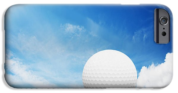 Golf Course iPhone Cases - Ball on tee on green golf field iPhone Case by Michal Bednarek