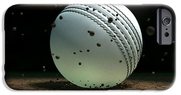 Cricket iPhone Cases - Ball Striking Bounce iPhone Case by Allan Swart