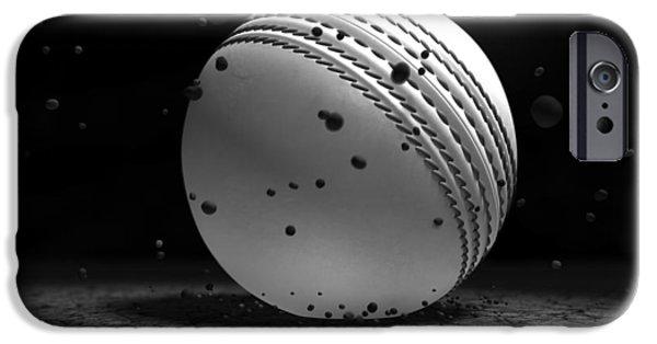 Cricket iPhone Cases - Ball Striking Ground iPhone Case by Allan Swart