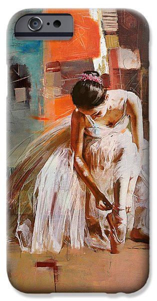 Ballet Dancers Paintings iPhone Cases - Ballerina 20 iPhone Case by Mahnoor Shah