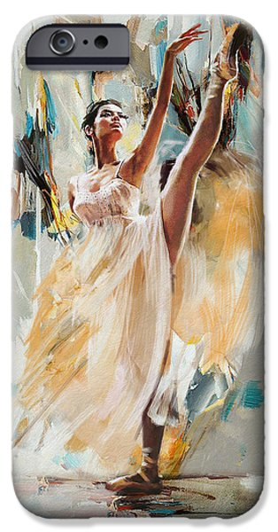 Ballet Dancers Paintings iPhone Cases - Ballerina 24 iPhone Case by Mahnoor Shah