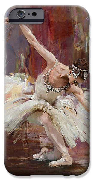 Ballet Dancers Paintings iPhone Cases - Ballerina 36 iPhone Case by Mahnoor Shah