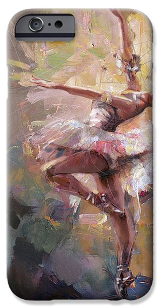 Ballet Dancers Paintings iPhone Cases - Ballerina 40 iPhone Case by Mahnoor Shah