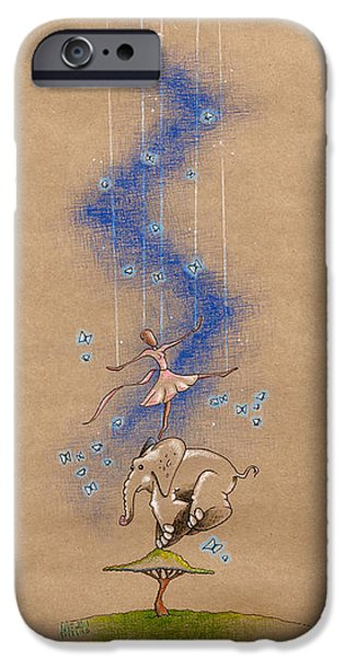 Nursery iPhone Cases - Ballerina and Elephant iPhone Case by David Breeding
