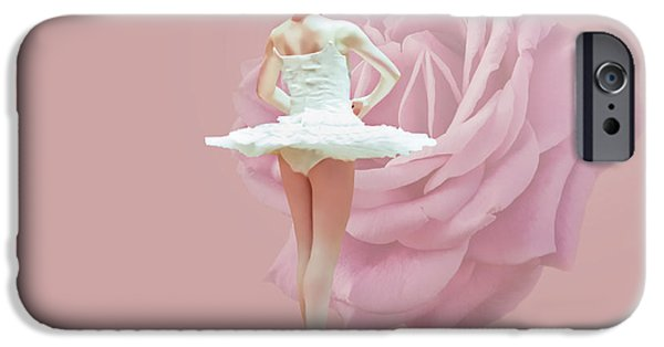 Dance Ballet Roses iPhone Cases - Ballerina in White with Pink Rose  iPhone Case by Delores Knowles