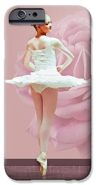 Ballerina in White with Pink Rose  iPhone Case by Delores Knowles