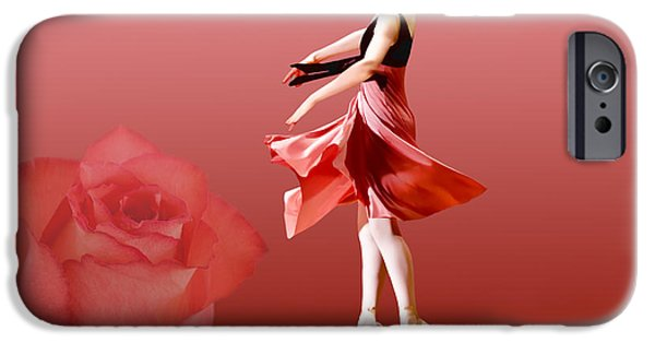 Dance Ballet Roses iPhone Cases - Ballerina On Pointe with Red Rose  iPhone Case by Delores Knowles