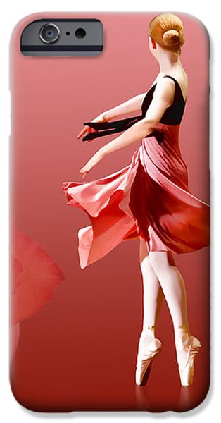 Ballerina On Pointe with Red Rose  iPhone Case by Delores Knowles