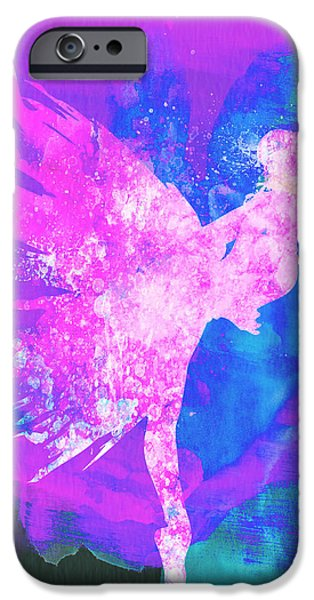 Couple iPhone Cases - Ballerina on Stage Watercolor 1 iPhone Case by Naxart Studio