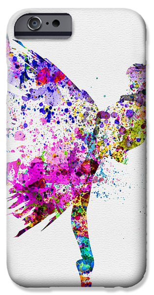 Entertaining iPhone Cases - Ballerina on Stage Watercolor 3 iPhone Case by Naxart Studio