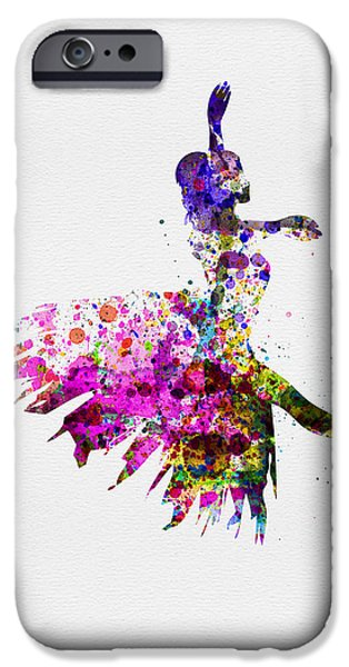 Entertaining iPhone Cases - Ballerina on Stage Watercolor 4 iPhone Case by Naxart Studio