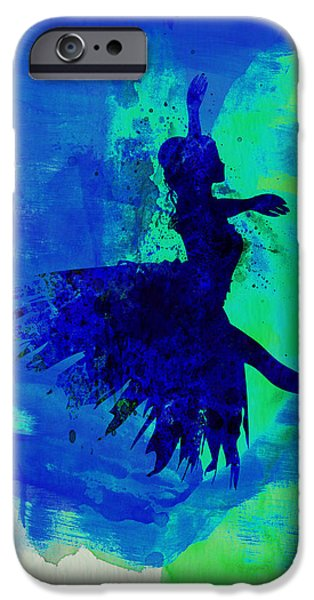 Couple iPhone Cases - Ballerina on Stage Watercolor 5 iPhone Case by Naxart Studio