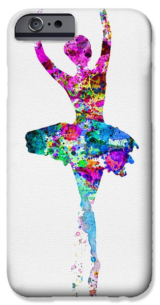 Ballet Digital Art iPhone Cases - Ballerina Watercolor 1 iPhone Case by Naxart Studio