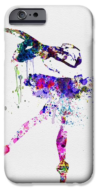 Ballet Digital Art iPhone Cases - Ballerina Watercolor 2 iPhone Case by Naxart Studio