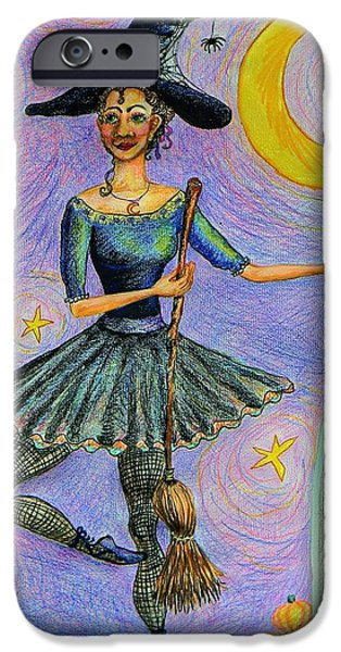 Tomb Drawings iPhone Cases - Ballerina Witch iPhone Case by Emily Michaud