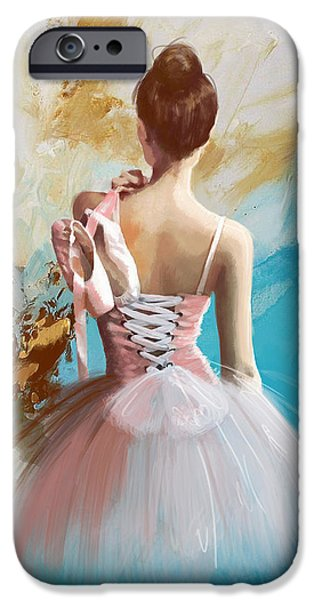 Ballet Dancers Paintings iPhone Cases - Ballerinas Back  iPhone Case by Corporate Art Task Force