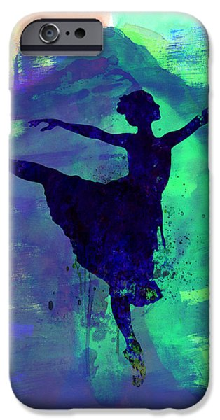 Young Mixed Media iPhone Cases - Ballerinas Dance Watercolor 2 iPhone Case by Naxart Studio