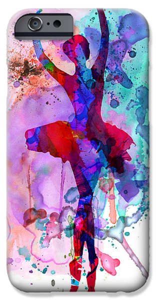 Young Mixed Media iPhone Cases - Ballerinas Dance Watercolor 3 iPhone Case by Naxart Studio