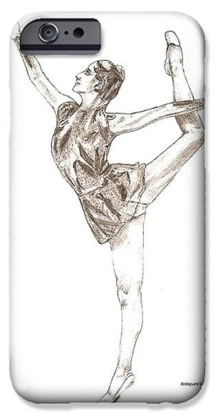 Ballet a pencil study in Black and White iPhone Case by Mario  Perez