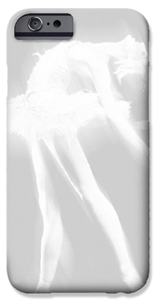 Ballet Dancers Drawings iPhone Cases - Ballet Dancer Arched White on White iPhone Case by Tony Rubino