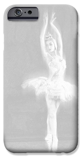 Ballet Dancers Drawings iPhone Cases - Ballet Dancer Extended White on White iPhone Case by Tony Rubino