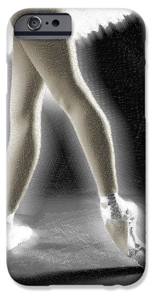 Ballet Dancers Drawings iPhone Cases - Ballet Dancer Legs Color iPhone Case by Tony Rubino