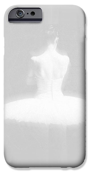 Reverse Art iPhone Cases - Ballet Dancer Standing White on White iPhone Case by Tony Rubino