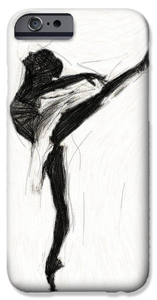 Ballet Drawings iPhone Cases - Ballet Dancing iPhone Case by Stefan Kuhn