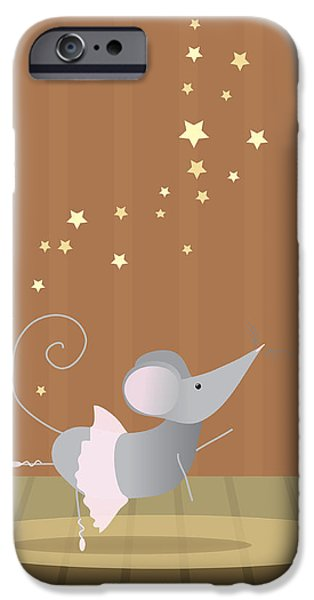Mice Digital Art iPhone Cases - Ballet Mouse Nursery Art Girl iPhone Case by Christy Beckwith